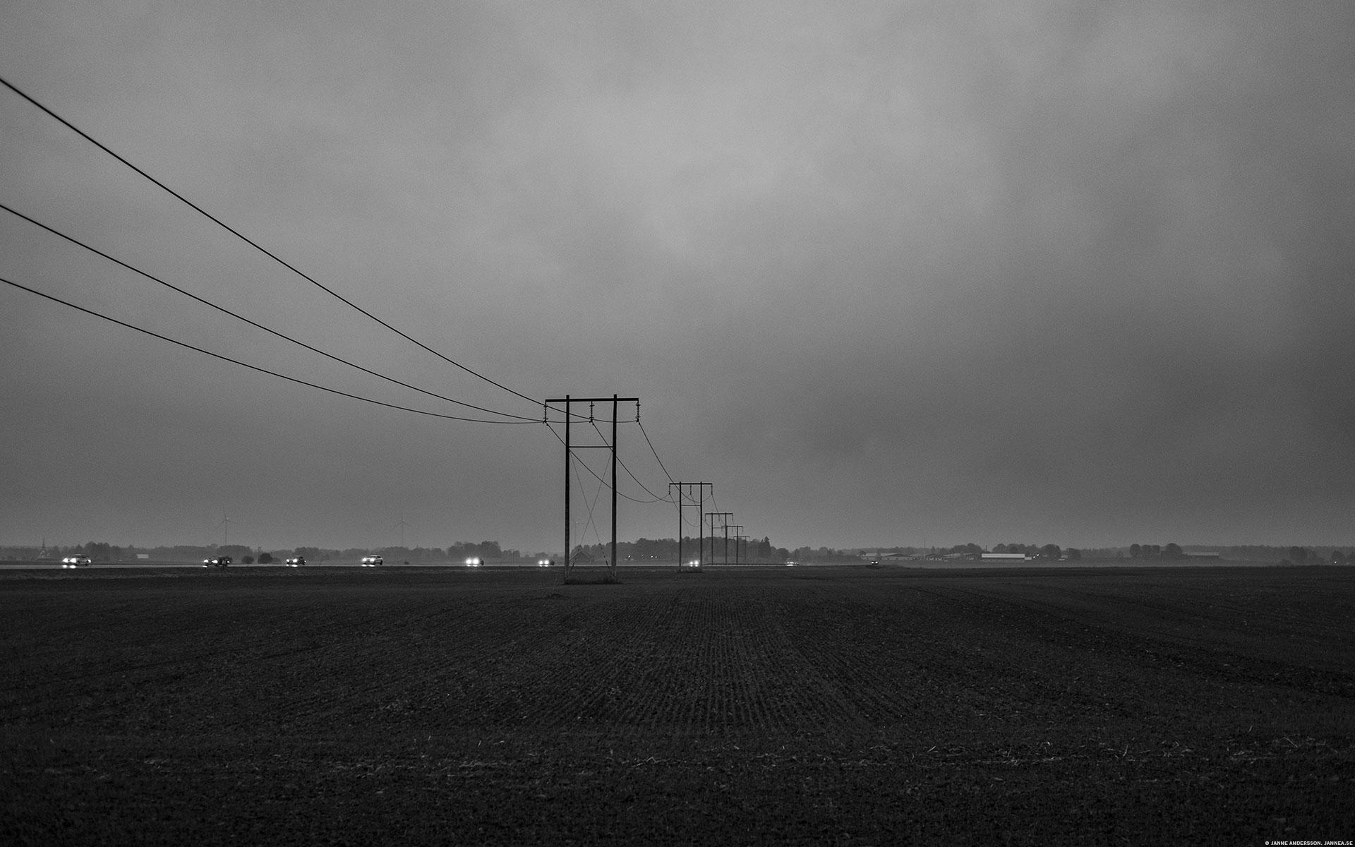 Stolpar på rad i gråheten © Janne A