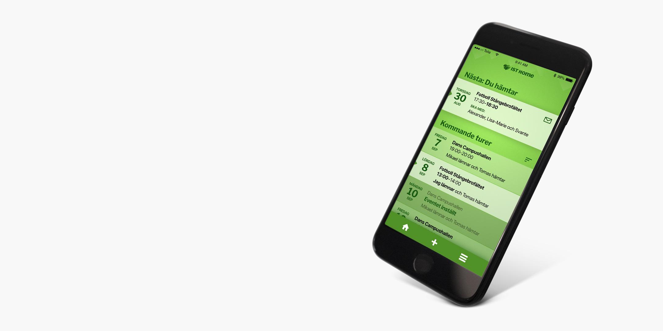 En app som håller koll på alla skjutsningar till och från