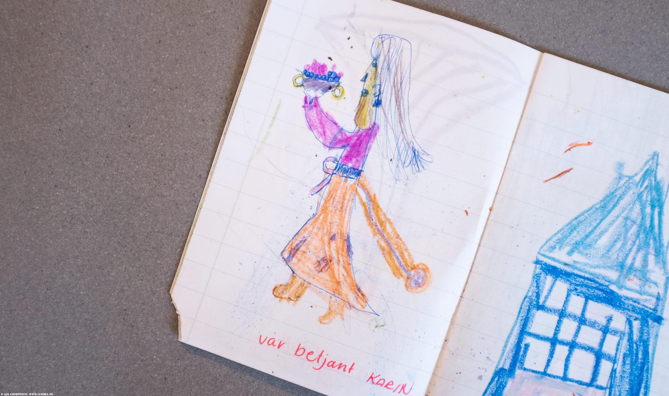En teckning i en av böckerna från lågstadiet |© Jan Andersson