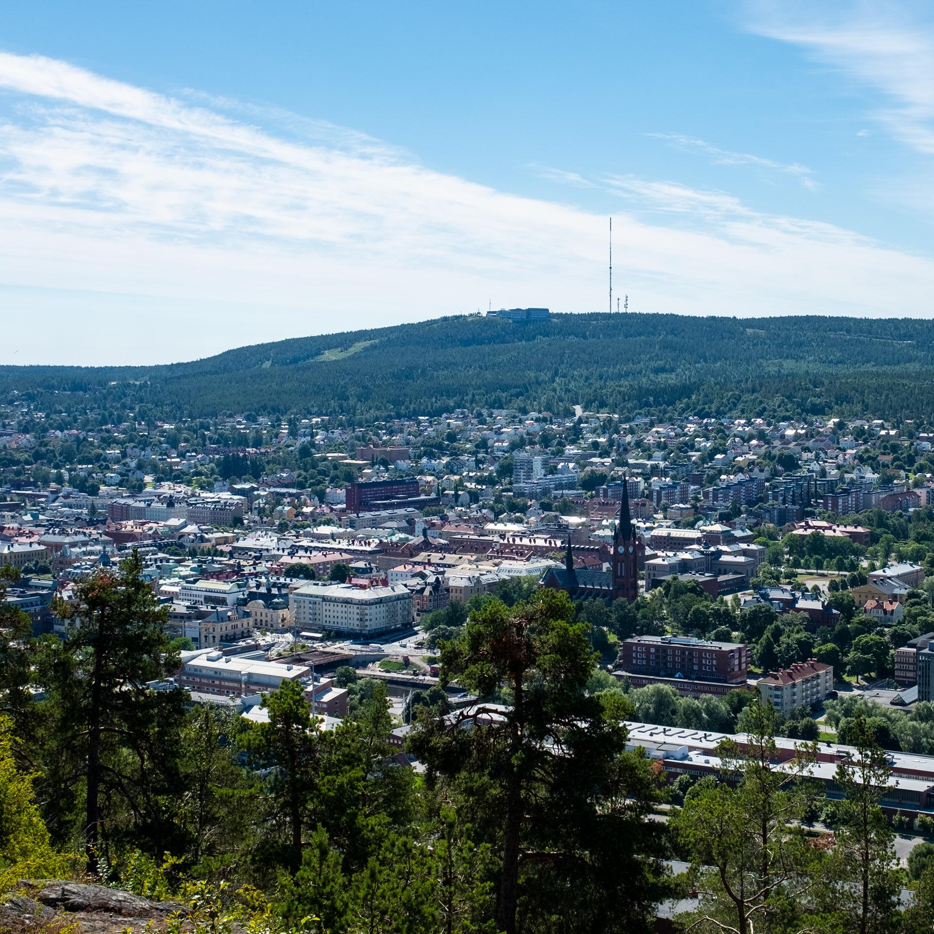 Utsikt över Sundvall från Norra Berget
