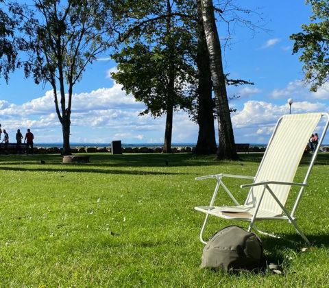 En sittande dag: På kafé och i park